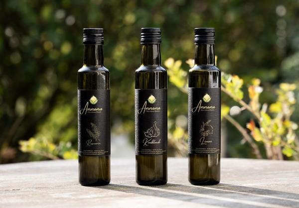 ANNONA Olivenöl Set - Knoblauch, Limone, Rosmarin - 3 x 250 ml im Geschenkkarton