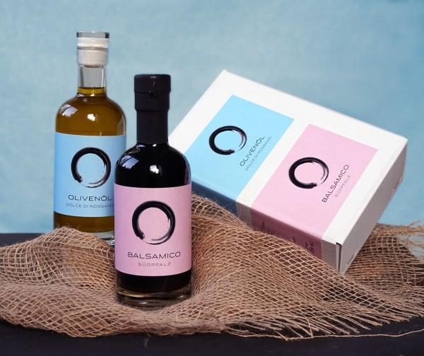 Geschenkset mit Balsamico Südpfalz und Olivenöl