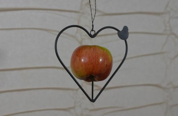 Apfelherz aus Draht mit kleinem Vogel