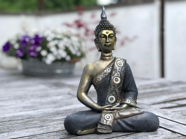 Buddha Thai stahlblau/gold