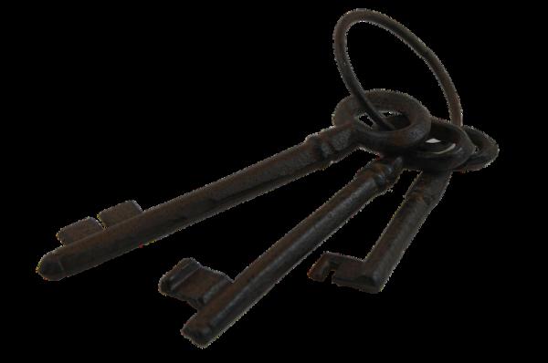Schlüsselring mit 3 Schlüsseln in antik-rost