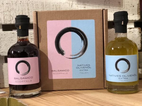 Mini Geschenkset mit Balsamico Südpfalz und Olivenöl (2 x 50 ml)