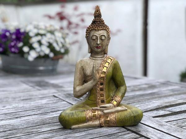Buddha Thai altgrün mit eingearbeitenden Spiegelelementen