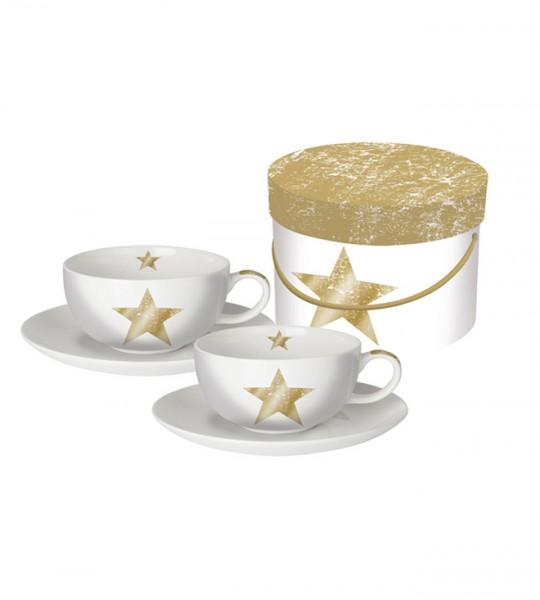 2 Porzellan Capuccinotassen STAR