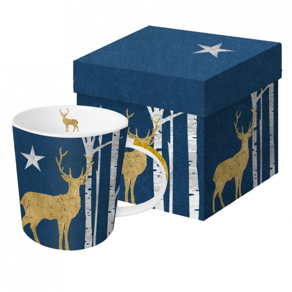 """Porzellanbecher """"Mystic Deer"""" Mitternachtsblau"""
