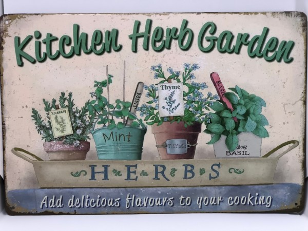 Metallschild Kitchen Herb Garden