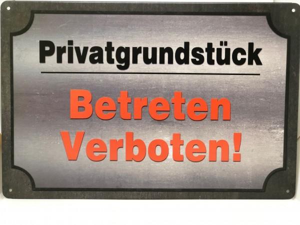 Metallschild Privatgrundstück - Betreten verboten