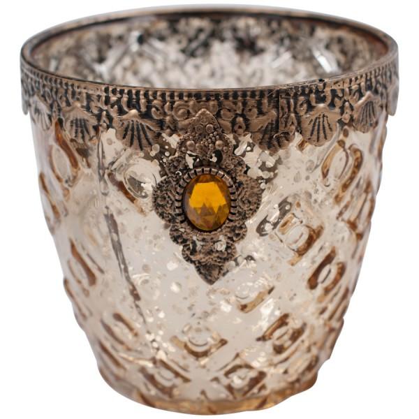 JUVELO Votivglas / Teelichthalter mit Golddekor