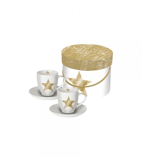 2 Porzellan Espressotassen STAR
