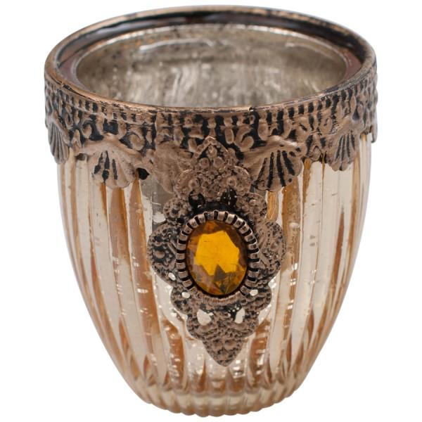 JUVEL Votivglas / Teelichthalter mit Golddekor