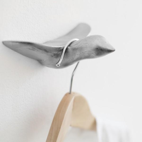 """Wandhaken """"Silberner Keramik Vogel"""""""