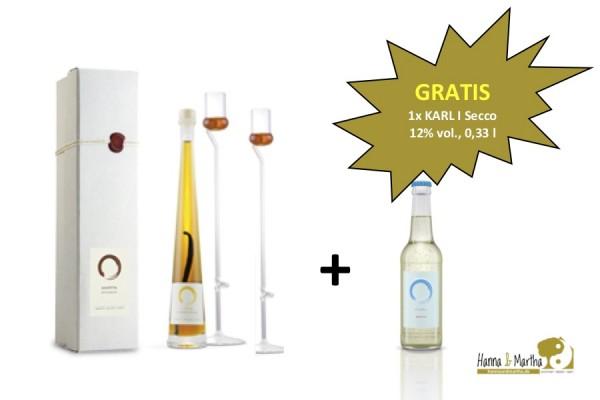 2x Essig-Degustationsglas I mundgeblasen I 33 cm + 1x Aperitif-Balsam-Essig 100 ml + 1x Gratis-Secco